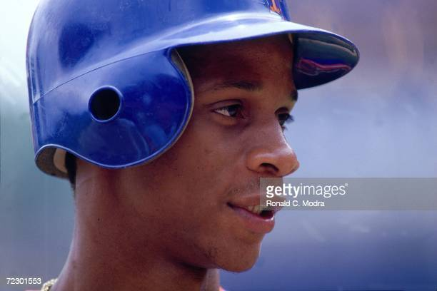 Darryl Strawberry of the New York Mets prior to a game at Shea Stadium in June 1984 in Flushing New York
