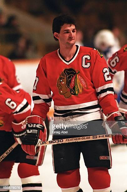 Darryl Sutter of the Chicago Black Hawks takes warmup prior to a game against the Toronto Maple Leafs at Maple Leaf Gardens in Toronto Ontario Canada...