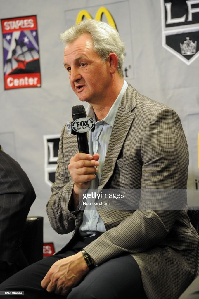 <a gi-track='captionPersonalityLinkClicked' href=/galleries/search?phrase=Darryl+Sutter&family=editorial&specificpeople=209125 ng-click='$event.stopPropagation()'>Darryl Sutter</a> speaks as the Los Angeles Kings kick-off the club's 2012-13 Regular Season with a press conference featuring Kings Governor Tim Leiweke, President/General Manager Dean Lombardi , President, Business Operations Luc Robitaille and Head Coach <a gi-track='captionPersonalityLinkClicked' href=/galleries/search?phrase=Darryl+Sutter&family=editorial&specificpeople=209125 ng-click='$event.stopPropagation()'>Darryl Sutter</a> at Staples Center on January 10, 2013 in Los Angeles, California.