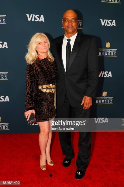 Darryl Talley and his wife on the Red Carpet at the 2017 NFL Honors on February 04 at the Wortham Theater Center in Houston Texas