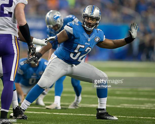 Darryl Tapp of the Detroit Lions blocks on an extra point attempt during an NFL game at Ford Field on October 25 2015 in Detroit Michigan The Vikings...