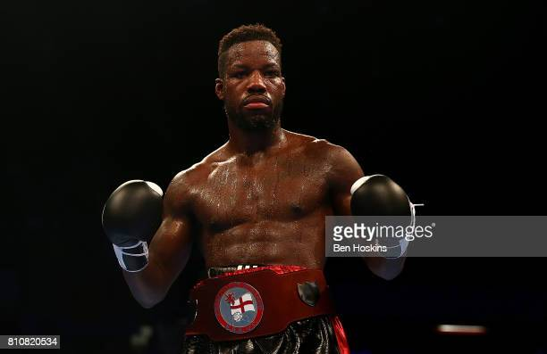 Darryll Williams of Great Britain celebrates after defeating Jahmaine Smyle of Great Britain during their English SuperMiddleweight Championship bout...