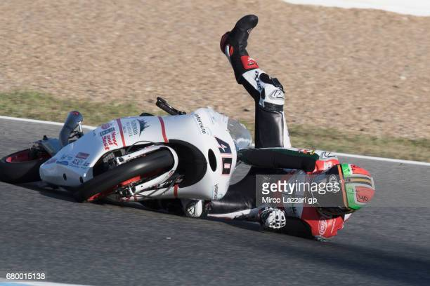 Darryn Binder of South Africa and Platinum Bay Real Estate crashed out during the Moto3 race during the MotoGp of Spain Race at Circuito de Jerez on...