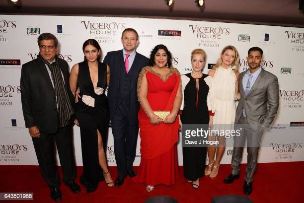 Darsheen Jariwala Huma Qureshi Hugh Bonneville Gurinder Chadha Gillian Anderson Lily Travers and Manish Dayal attend the UK premiere of 'Viceroys's...