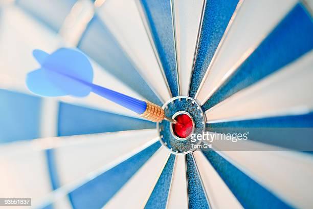 dart on bullseye of dartboard