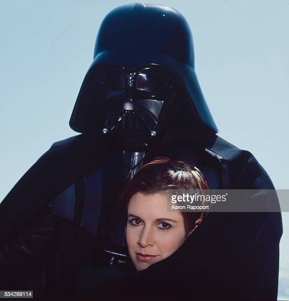 Darth Vadar and Princess Leia on the beach in Northern California for Star Wars Rolling Stone Magazine in 1983