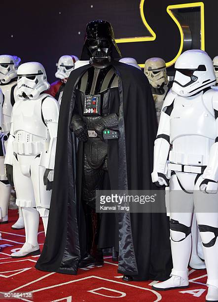 Darth Vadar attends the European Premiere of 'Star Wars The Force Awakens' at Leicester Square on December 16 2015 in London England