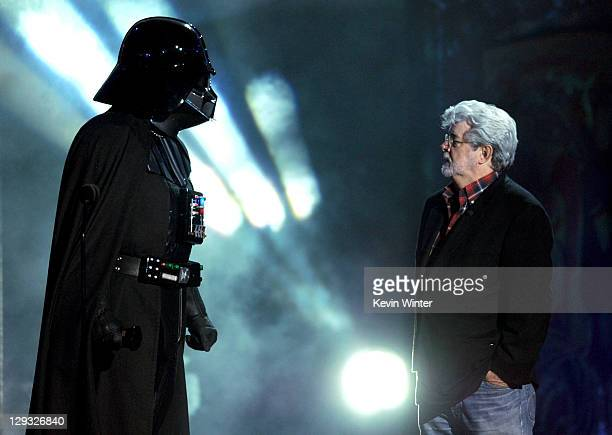 Darth Vader accepts the Ultimate Villain award from George Lucas onstage during Spike TV's 'SCREAM 2011' awards held at Universal Studios on October...