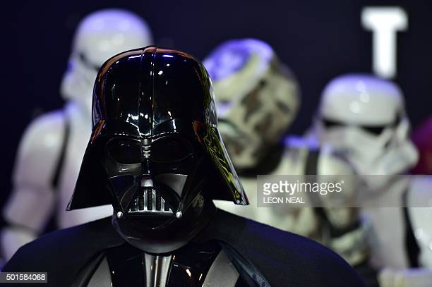 Darth Vader accompanied by storm troopers attends the European Premiere of 'Star Wars The Force Awakens' in central London on December 16 2015 Ever...