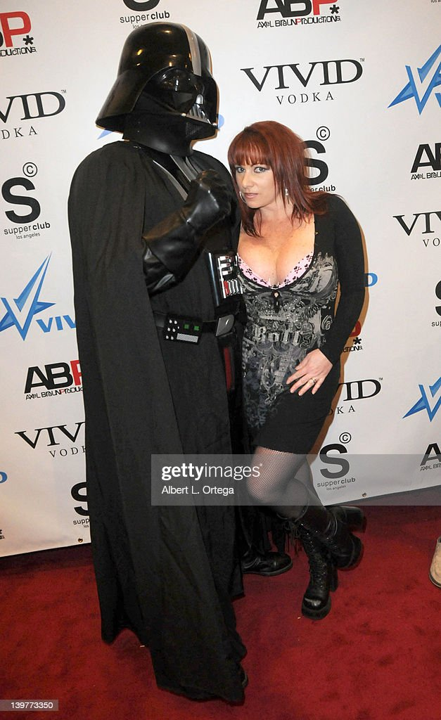 Darth Vader and adult actress Kylie Ireland arrive for the Premiere Of Vivid Entertainment's 'Star Wars