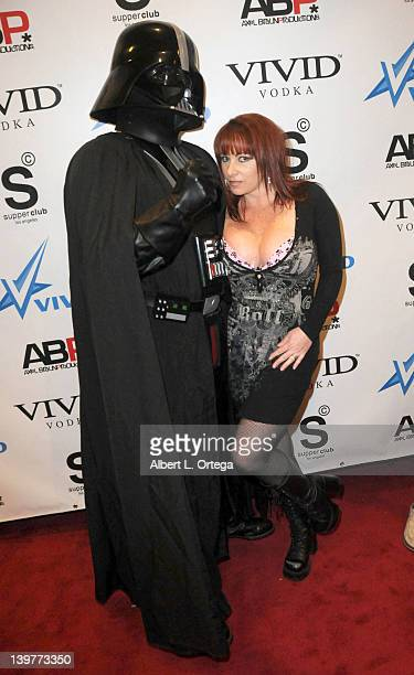 Darth Vader and adult actress Kylie Ireland arrive for the Premiere Of Vivid Entertainment's 'Star Wars XXX A Porn Parody' held at SupperClub on...