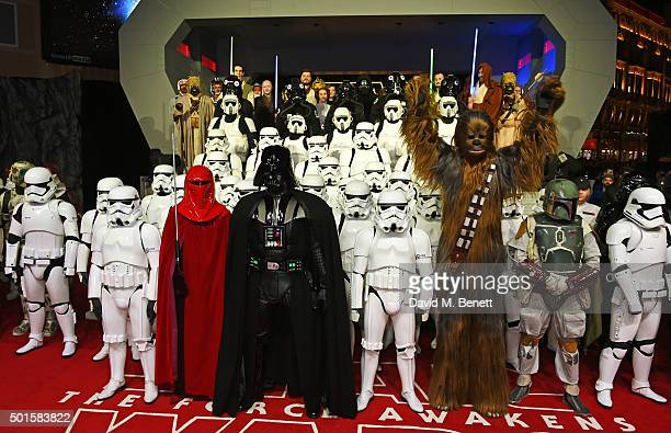 Darth Vader and Chewbacca pose with stormtroopers at the European Premiere of 'Star Wars The Force Awakens' in Leicester Square on December 16 2015...