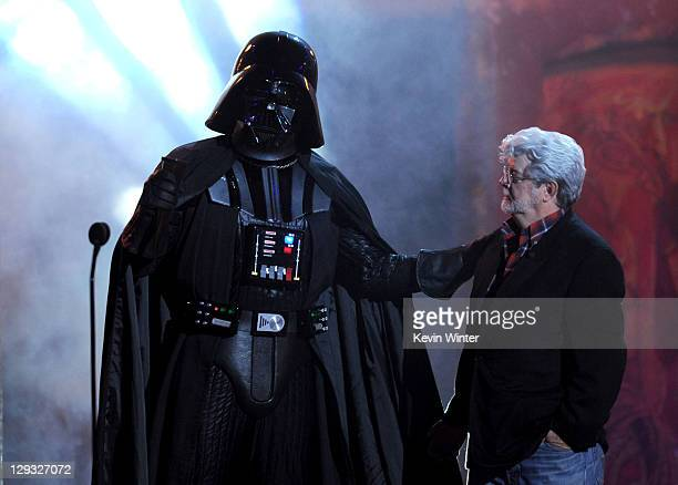 Darth Vader and George Lucas onstage during Spike TV's 'SCREAM 2011' awards held at Universal Studios on October 15 2011 in Universal City California