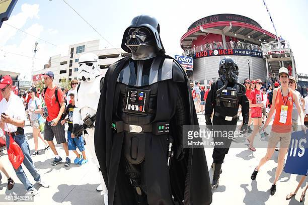 Darth Vader and other Star Wars characters walk the stadium on Star Wars day before a baseball game between Washington Nationals and the Los Angeles...