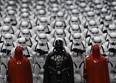Darth Vader and Stormtroopers at a Star Wars display during the Disney D23 EXPO 2015 held at the Anaheim Convention Center in Anaheim California on...