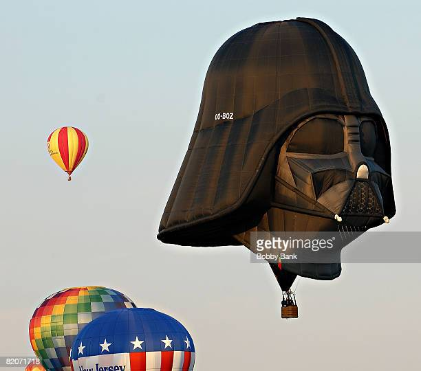Darth Vader balloon rises during the Sunset Mass Ascension of 125 balloons at the 2008 Quick Chek New Jersey Festival of Ballooning at Solberg...