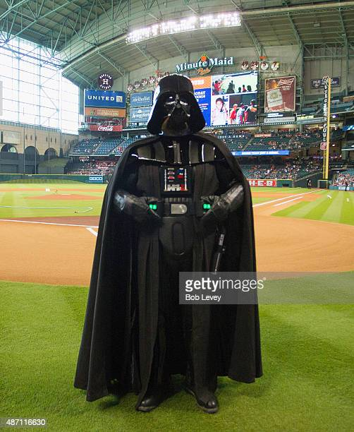 Darth Vader character on the field on Star Wars Day before the game between the Minnesota Twins and Houston Astros at Minute Maid Park on September 6...