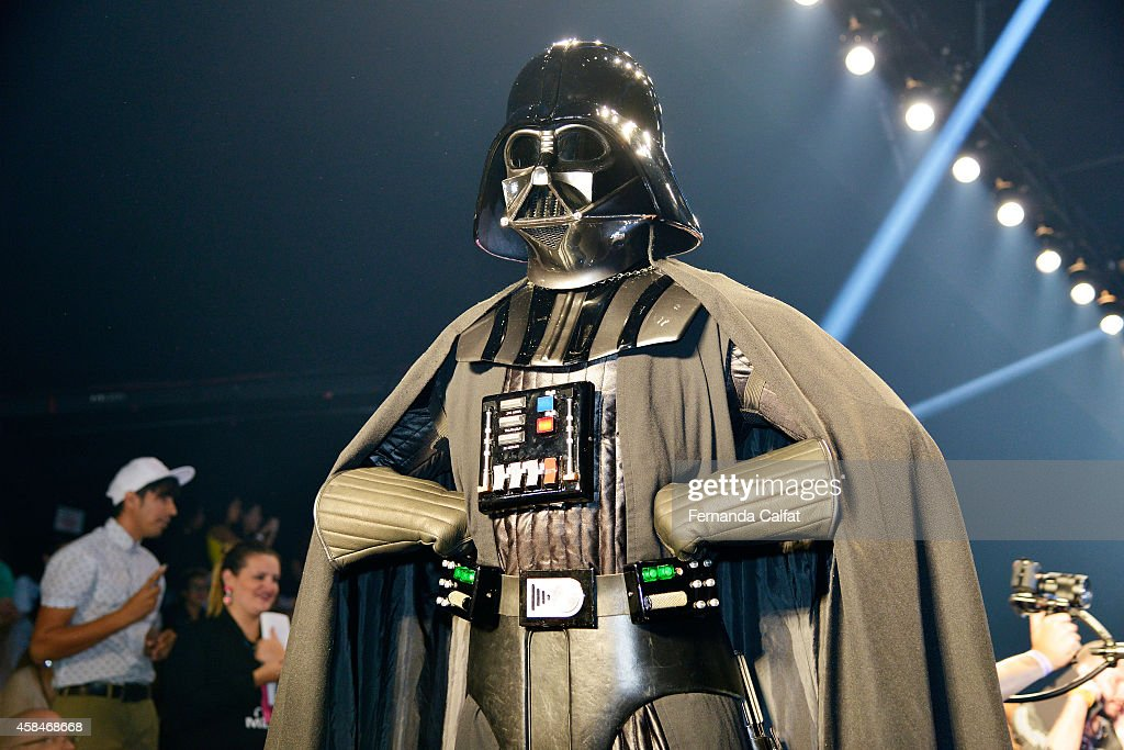 Darth Vader costume greets the crowd at the Triton fashion show during Sao Paulo Fashion Week Winter 2015 at Parque Candido Portinari on November 5...