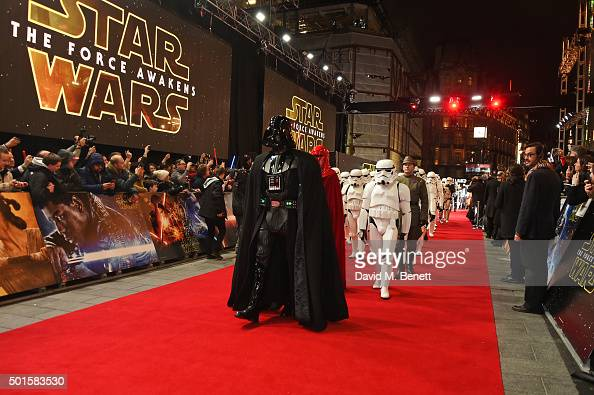 Darth Vader leads the Stormtroopers down the red carpet at the European Premiere of 'Star Wars The Force Awakens' in Leicester Square on December 16...