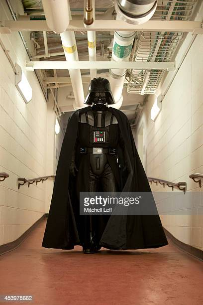 Darth Vader makes his way to the field prior to the game between the St Louis Cardinals and Philadelphia Phillies on August 22 2014 at Citizens Bank...