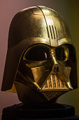 Darth Vader mask covered in gold leaf is seen on display at Ginza Tanaka jeweler on April 22 2015 in Tokyo Japan To celebrate the release of the new...