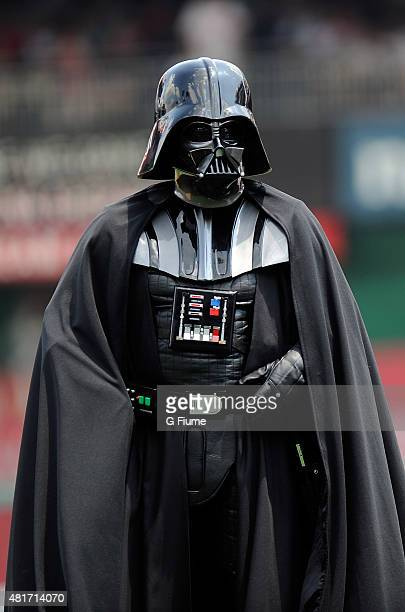 Darth Vader stands on the field for Star Wars day before the game between the Washington Nationals and the Los Angeles Dodgers against the at...