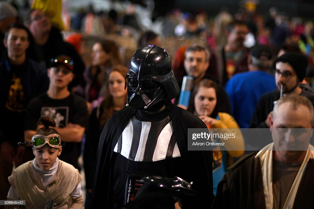 Darth Vader stands with the general public during a Star Wars themed day at Wings Over the Rockies on Sunday, May 1, 2016.