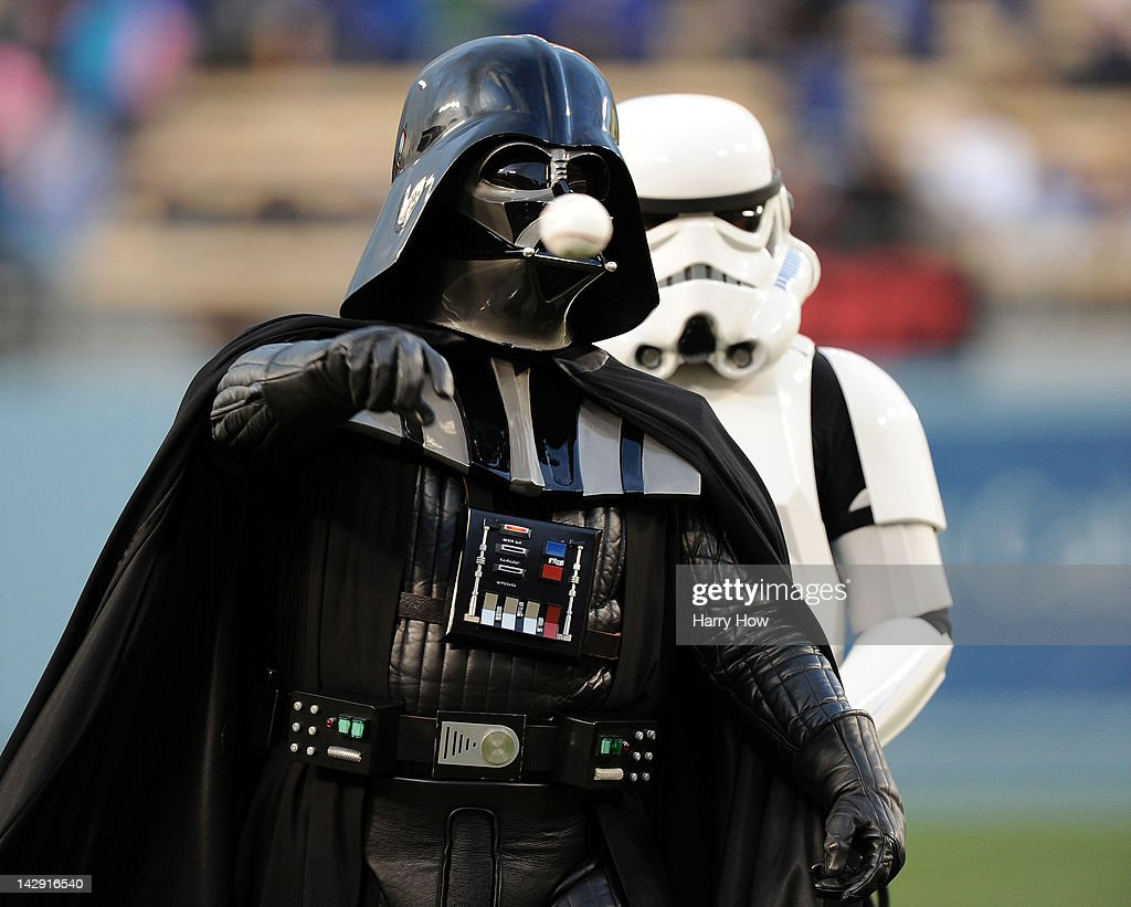 Darth Vader throws out the ceremonial first pitch before the game between the San Diego Padres and the Los Angeles Dodgers at Dodger Stadium on April 13, 2012 in Los Angeles, California.