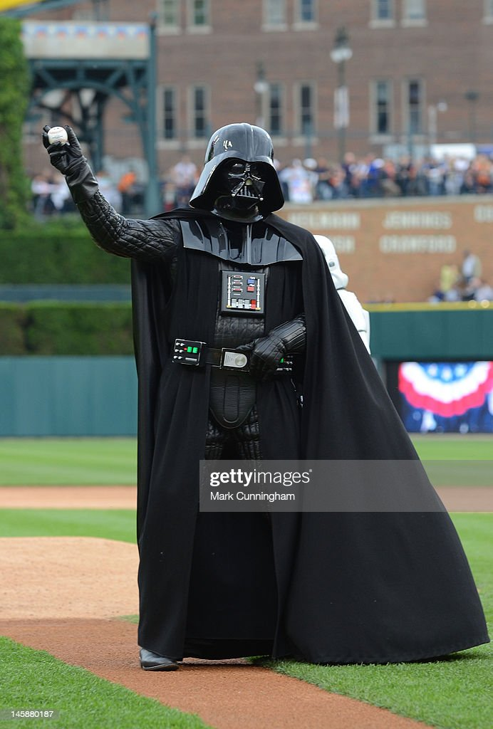 Darth Vader throws out the ceremonial first pitch during Star Wars Night before the game between the Detroit Tigers and the New York Yankees at Comerica Park on June 2, 2012 in Detroit, Michigan. The Tigers defeated the Yankees 4-3.