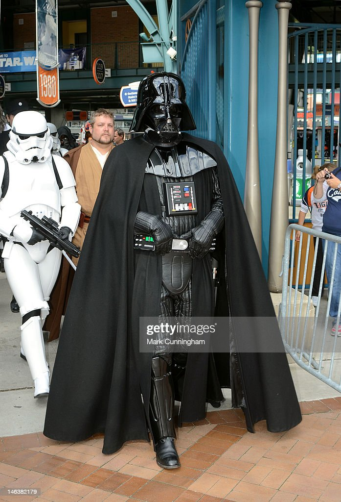 Darth Vader walks through the main gates of Comerica Park during Star Wars Night before the game between the Detroit Tigers and the New York Yankees at Comerica Park on June 2, 2012 in Detroit, Michigan. The Tigers defeated the Yankees 4-3.
