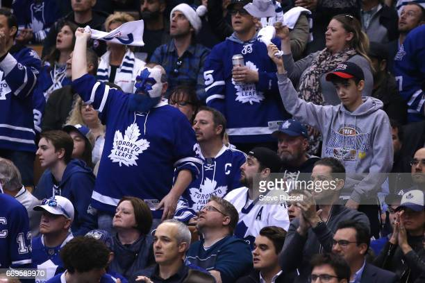 TORONTO ON APRIL 17 Dartman cheers as the Toronto Maple Leafs play the Washington Capitals in game three of their NHL first round playoff at the Air...