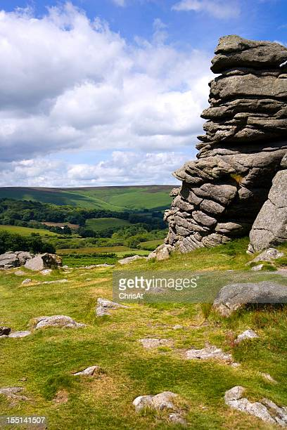 Dartmoor countryside from Hound Tor, Devon, UK