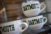 Dartmouth College mugs are displayed for sale at a store on campus the day before a Republican presidential debate sponsored by Bloomberg via Getty...