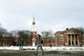 Dartmouth College student walks across the main campus February 28 2001 in Hanover NH The small town of Hanover and Dartmouth College has been the...