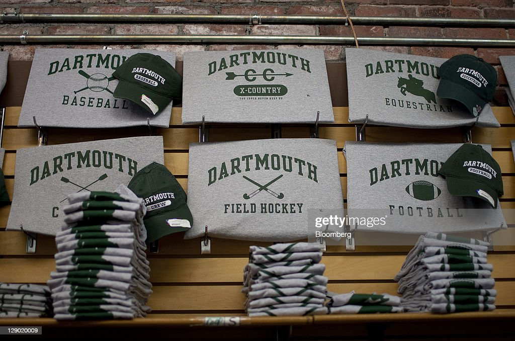 Dartmouth College tshirts are displayed for sale at a store on campus the day before a Republican presidential debate sponsored by Bloomberg via...