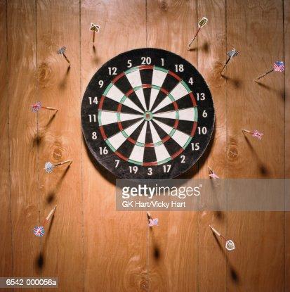 Darts in Wall : Stock Photo
