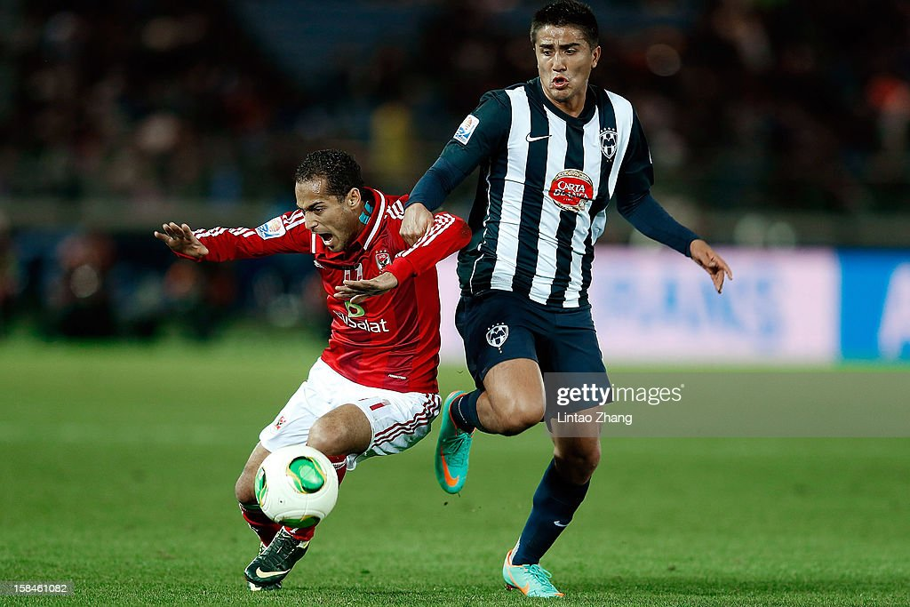 Darvin Chavez (R) of CF Monterrey challenges Walid Soliman of Al-Ahly SC during the FIFA Club World Cup 3rd Place Match between Al-Ahly SC and CF Monterrey at International Stadium Yokohama on December 16, 2012 in Yokohama, Japan.