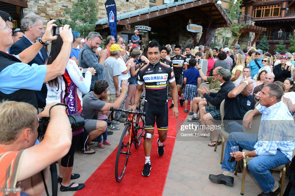 Darwin Atapuma from Columbia riding for Team Columbia walks down the red carpet at the team presentation ceremony prior to the start of the USA Pro Challenge on August 17, 2013 in Snowmass Village, Colorado.