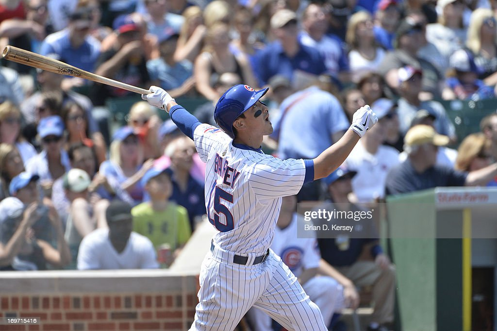 Darwin Barney #15 of the Chicago Cubs bats against the Chicago White Sox at Wrigley Field on May 29, 2013 in Chicago, Illinois. The Cubs defeated the White Sox 9-3.
