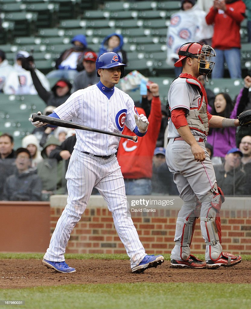 <a gi-track='captionPersonalityLinkClicked' href=/galleries/search?phrase=Darwin+Barney&family=editorial&specificpeople=537975 ng-click='$event.stopPropagation()'>Darwin Barney</a> #15 of the Chicago Cubs reacts after striking out to end the game against the Cincinnati Reds on May 3, 2013 at Wrigley Field in Chicago, Illinois. The Reds defeated the Cubs 6-5.