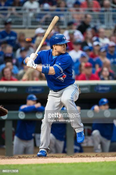 Darwin Barney of the Toronto Blue Jays bats against the Minnesota Twins on September 16 2017 at Target Field in Minneapolis Minnesota The Blue Jays...