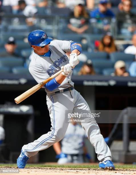 Darwin Barney of the Toronto Blue Jays in action against the New York Yankees at Yankee Stadium on September 30 2017 in the Bronx borough of New York...