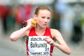Darya Balkunets of Bulgaria competes in the Women's 20km Walk Race during The European Athletics U23 Championships 2013 fly in The Market Square in...