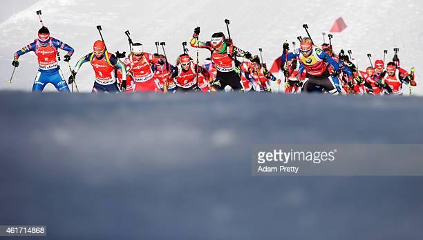 Darya Domracheva of Belarus and Kaisa Makarainen of Finland lead the pack during the IBU Biathlon World Cup Women's Mass Start on January 18 2015 in...