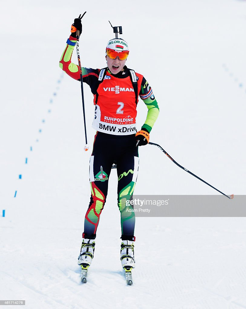 <a gi-track='captionPersonalityLinkClicked' href=/galleries/search?phrase=Darya+Domracheva&family=editorial&specificpeople=4105955 ng-click='$event.stopPropagation()'>Darya Domracheva</a> of Belarus celebrates first place as she crosses the finish line of the IBU Biathlon World Cup Women's Mass Start on January 18, 2015 in Ruhpolding, Germany.