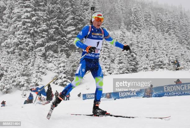 Darya Domracheva of Belarus competes in the 10 km Women's Pursuit during the BMW IBU World Cup Biathlon on December 0 2017 in Hochfilzen Austria