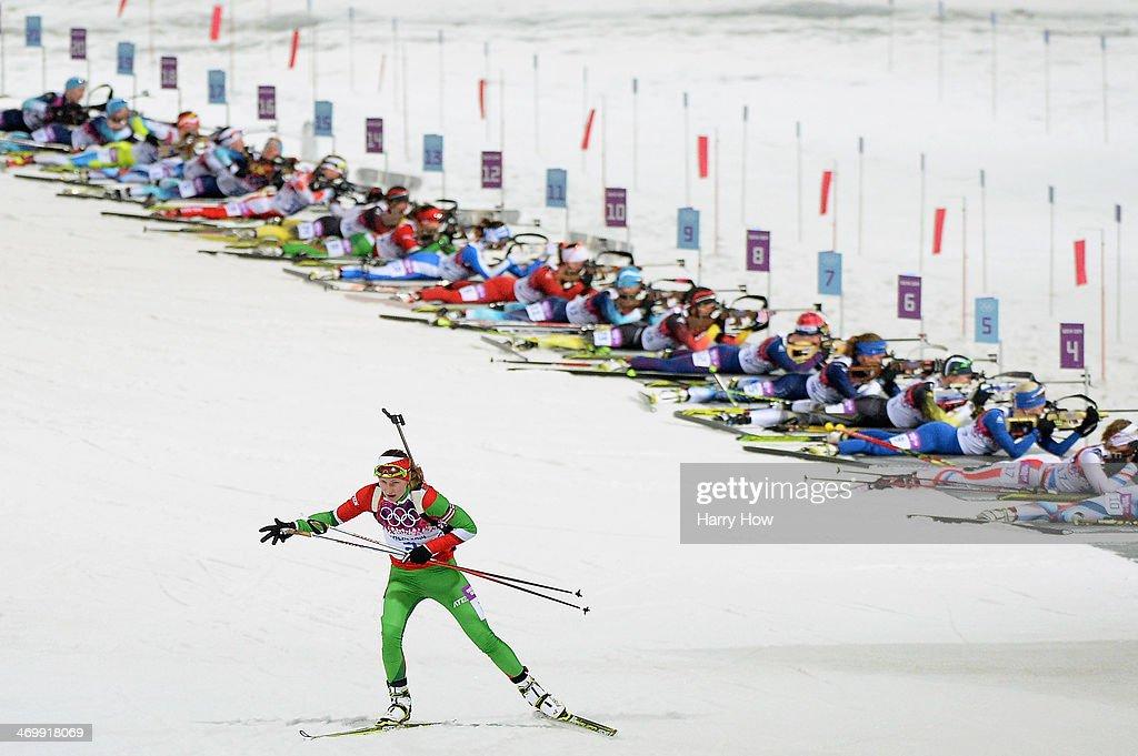 Darya Domracheva of Belarus competes in the Women's 125 km Mass Start during day ten of the Sochi 2014 Winter Olympics at Laura Crosscountry Ski...