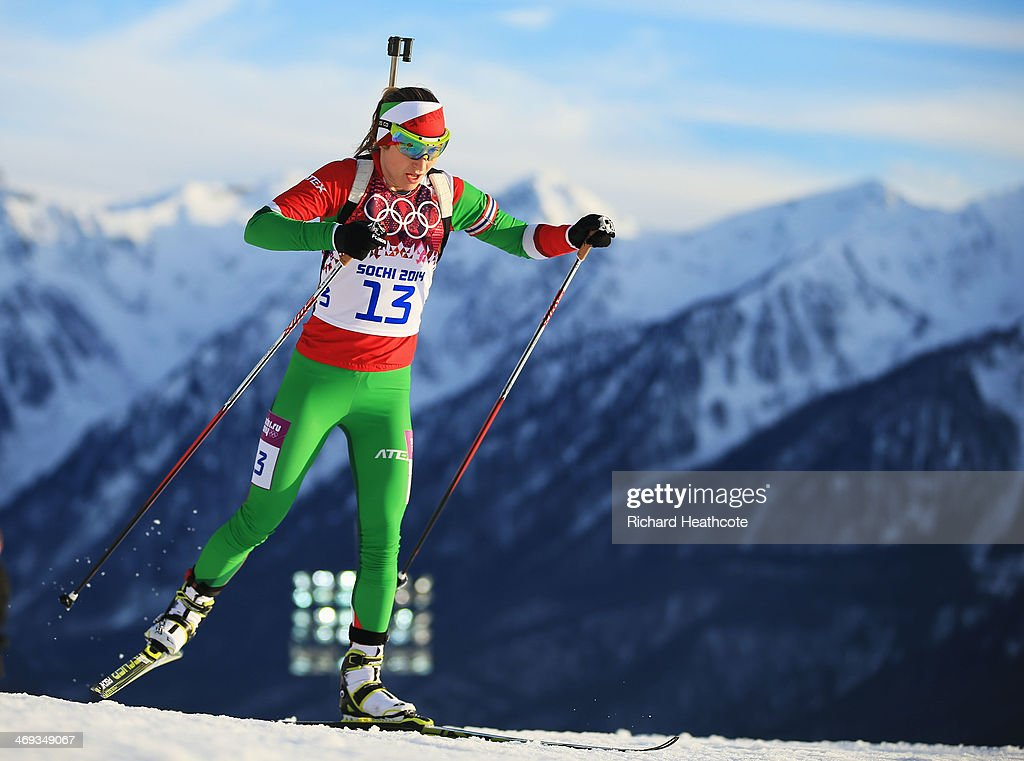 <a gi-track='captionPersonalityLinkClicked' href=/galleries/search?phrase=Darya+Domracheva&family=editorial&specificpeople=4105955 ng-click='$event.stopPropagation()'>Darya Domracheva</a> of Belarus competes in the Women's 15 km Individual during day seven of the Sochi 2014 Winter Olympics at Laura Cross-country Ski & Biathlon Center on February 14, 2014 in Sochi, Russia.