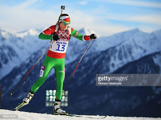 Darya Domracheva of Belarus competes in the Women's 15 km Individual during day seven of the Sochi 2014 Winter Olympics at Laura Crosscountry Ski...