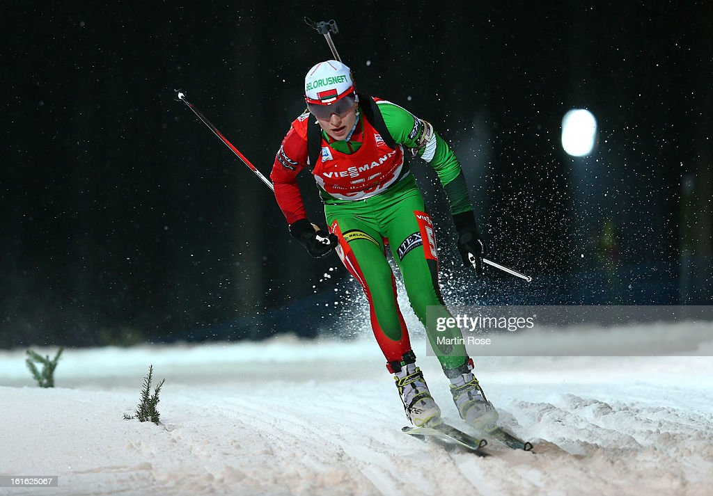 Darya Domracheva of Belarus competes in the Women's 15km Individual during the IBU Biathlon World Championships at Vysocina Arena on February 13, 2013 in Nove Mesto na Morave, Czech Republic.